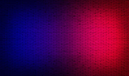 Abstract image of Studio dark room with lighting effect red and blue on black brick wall grunge texture background for interior decoration. Stockfoto