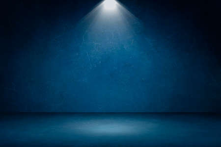 Empty space studio room of Blue plaster concrete grunge texture background with spotlight for use display product.