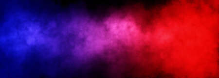 Abstract image of fog or smoke with red and blue lighting effect in black background.