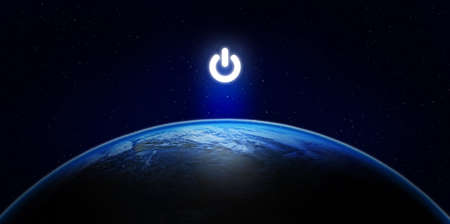 Earth Hour, Ecology and Environment Concept : Blue planet earth in the space with electric power button for Earth Hour Event.