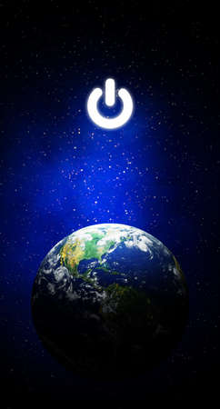 Earth Hour, Ecology and Environment Concept : Blue earth in the space with electric power button for Earth Hour Event.