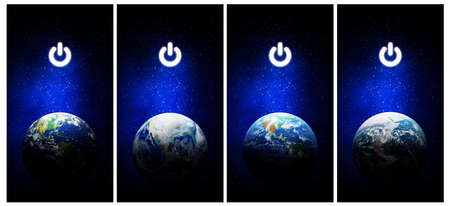 Earth Hour, Ecology and Environment Concept : Set of Blue earth in the space with electric power button for Earth Hour Event.