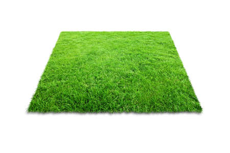Green grass carpet in square shape isolated on white background. Stockfoto