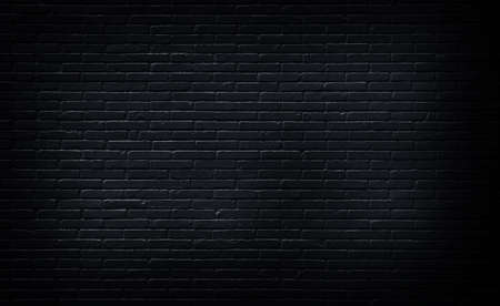 Rustic black grunge brick wall texture background for interior decoration.