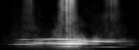 Empty space of Studio dark room with spot lighting and fog or mist on concrete floor in black background. Reklamní fotografie