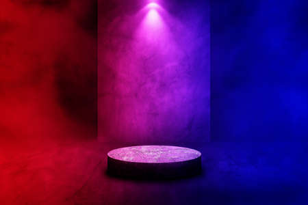 Empty space of Studio dark room stone stage or podium with fog or mist and lighting effect red and blue on concrete floor grunge texture background.