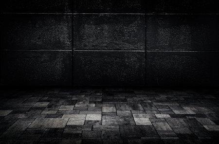 Empty space of Studio dark room concrete floor grunge texture background with lighting effect. Reklamní fotografie