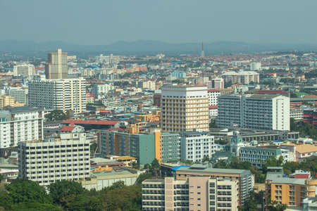 Cityscape image of Pattaya city from Pratumnak Hill Viewpoint, Chonburi, Thailand.