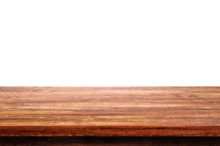Empty space wooden table top isolated on white background. 版權商用圖片