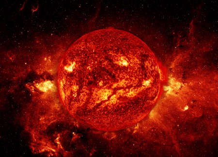 The sun and giant filament of cosmos in space.