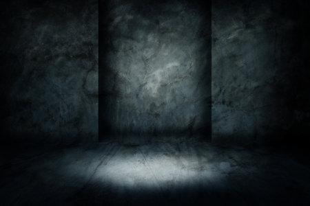 Abstract image of Studio dark room concrete floor grunge texture background with lighting effect.