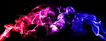 Abstract image of Colorful smoke or fog with red and blue lighting effect in dark background.
