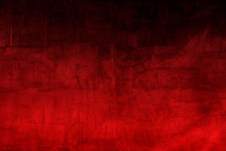 Empty space of Dark concrete wall grunge texture background with smoke and red lighting effect for Valentines, Christmas Design Layout.