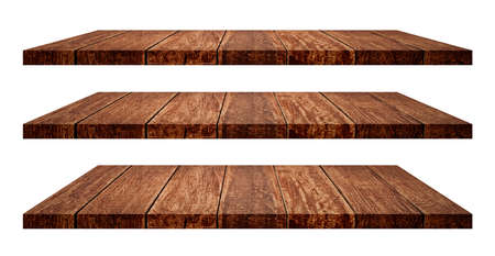 Empty dark wooden shelf isolated on white background. (Clipping path)