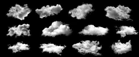 Set of white clouds isolated on black background. 版權商用圖片