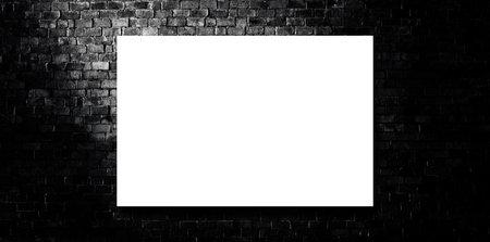 Empty white board on brick wall grunge texture background in dark room.