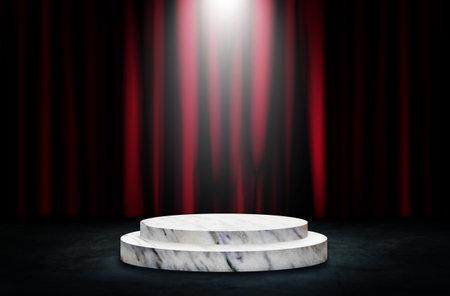 Empty space of Round white podium or pedestal in studio dark room black concrete floor grunge texture with red certain in background. Reklamní fotografie - 162104983