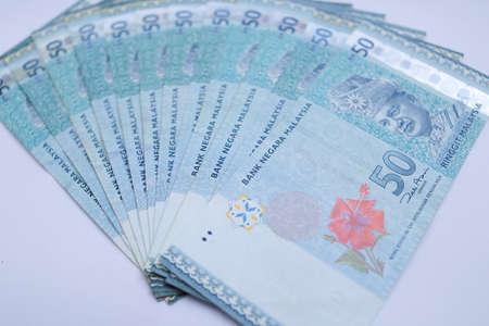 Malaysian ringgit money notes isolated on white background
