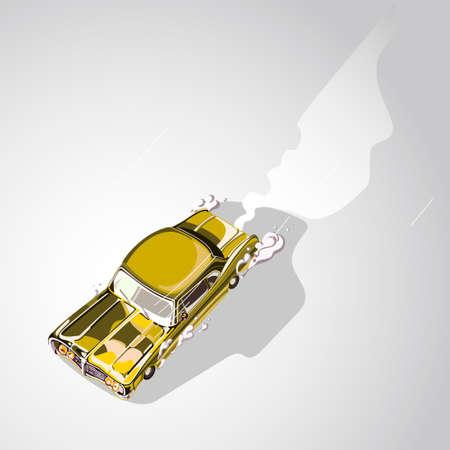 Retro sport car. Muscle car. Exhaust Vector illustration 向量圖像