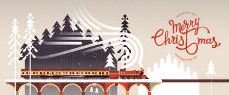 New year and Christmas snowy winter landscape with coniferous forest, pines, train and hand drawn Merry Christmas typography . Celebration quotation for poster, card, postcard, event icon logo or badge.