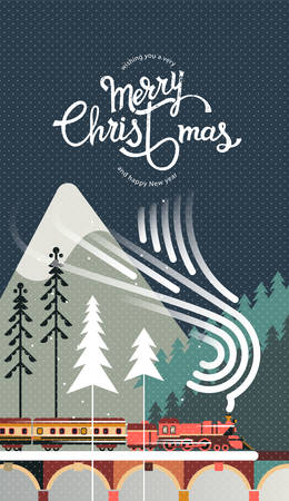 New year and Christmas snowy winter landscape with coniferous forest, pines, train and hand drawn Merry Christmas typography . Celebration quotation for poster, card, postcard, event icon  or badge.