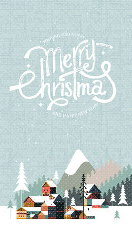 New year and Christmas snowy winter landscape with coniferous forest, pines, mountains, cottages and hand drawn Merry Christmas typography . Celebration quotation for poster, card, postcard, event icon or badge.