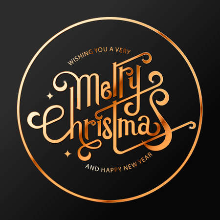 Hand drawn New year and Merry Christmas typography poster. Celebration quotation for web, card, postcard, event icon logo or badge. Vintage style.