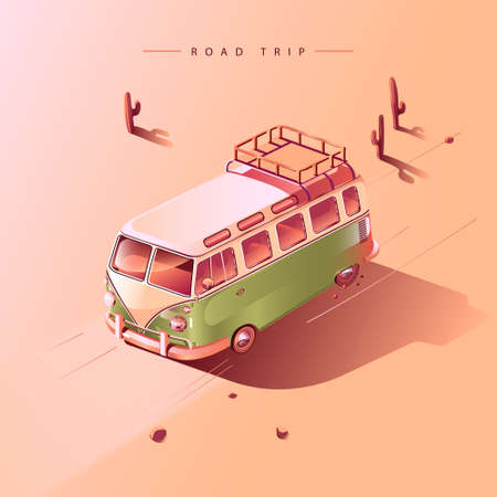 Road trip by retro van in desert with cactuses. Vector illustration.