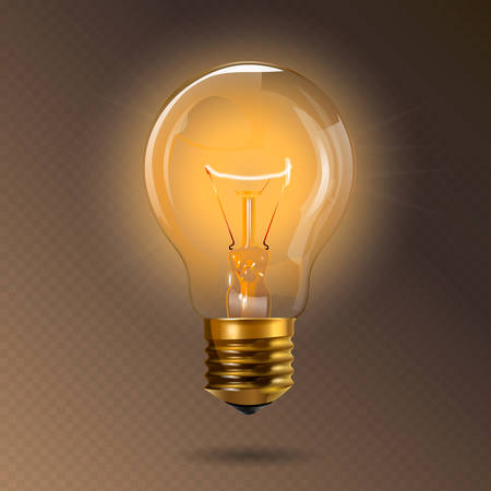 Transparent glowing electric light bulb with a gold base. Realistic style. Isolated background. Object for infographics, presentations, web design, poster, banner.