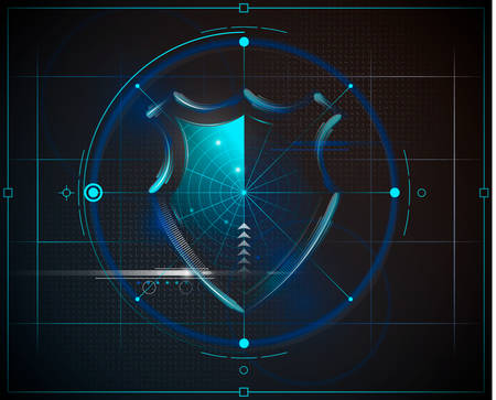 Cyber security shield with radar searching and digital data background. Isolated background. Network, search system, virus or information protection concept for poster, web design, banner, icon, badge. Vector illustration.