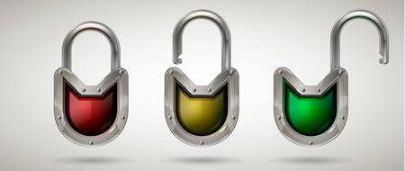 Protective padlock with metal frame and safety glass in the open and closed position. Realistic style. Isolated background. Network, cyber or personal data security concept for poster, web design, banner, icon, badge. Vector illustration. Çizim
