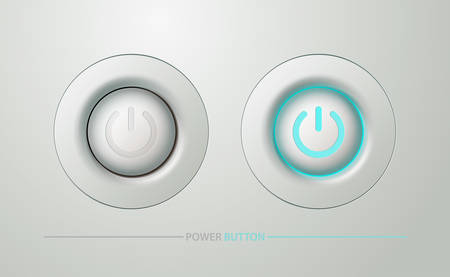 Plastic round white power button in the on and off position. Realistic style. Isolated background. UI for site, web design, banner, icon, badge. Vector illustration.