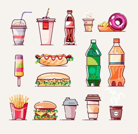 Fast food set. Icon collection for poster, web design, banner, logo or badge. Vector illustration.