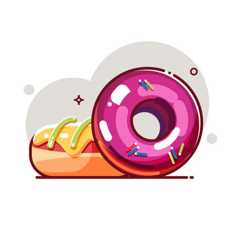 Tasty donuts with colored glaze and sprinkles. Flat cartoon style. Isolated fast food icon for poster, web design, banner, logo or badge. Colorful vector illustration.