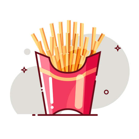 French fries in box. Flat cartoon style. Isolated fast food icon for poster, web design, banner, logo or badge. Colorful vector illustration.