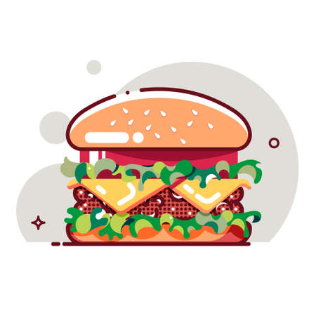 Big hamburger with tomato paste, cheese, beef cutlet and salad. Flat cartoon style. Isolated fast food icon for poster, web design, banner, logo or badge. Colorful vector illustration.
