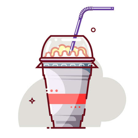 Ice cream milkshake in disposable cup with drinking straw. Flat cartoon style. Isolated fast food drink icon for poster, web design, banner, logo or badge. Colorful vector illustration.