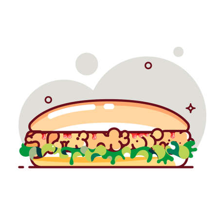 Big sandwich with tomato paste, chicken cutlet and salad. Flat cartoon style. Isolated fast food icon for poster, web design, banner, logo or badge. Colorful vector illustration.