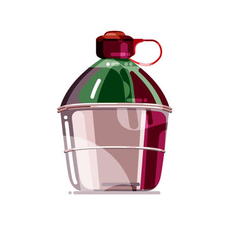 Colorful metal tourists flask for water. Tourists gear. Travellers equipment design elements. Flat cartoon vector illustration for poster, web design, banner, icon,  badge. Çizim