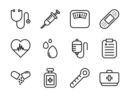 Medical Icon Set Outline Style