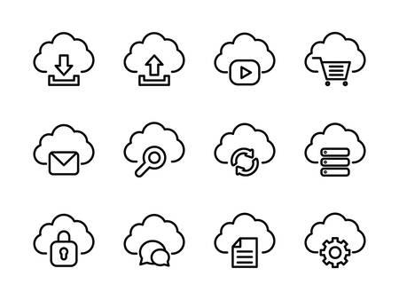 Cloud Computing Icon Set Outline Style 일러스트