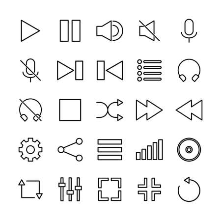 Media Player Icon Set Outline Style Ilustrace