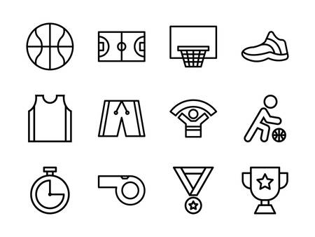 Basketball Icon Set Outline Style