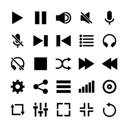 Media Player Icon Set Glyph Style Illustration