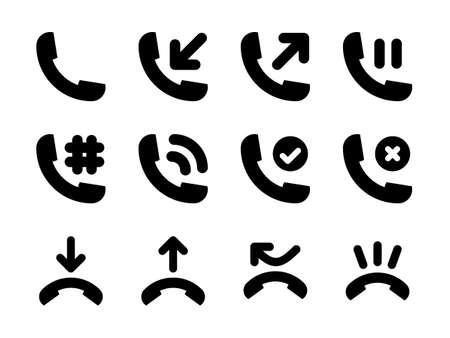 Phone Activity Icon Set Glyph Style
