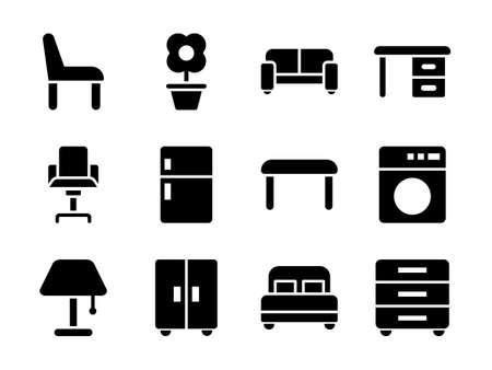 Furniture Icon Set Glyph Style
