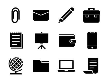 Business Icon Set Glyph Style