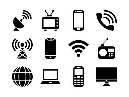 Telecommunication Icon Set Glyph Style  イラスト・ベクター素材