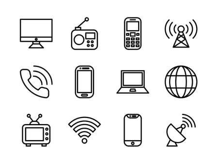 Telecommunication Icon Set Outline Style