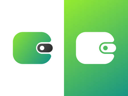 Wallet logo design for brand and company with gradient style.  イラスト・ベクター素材